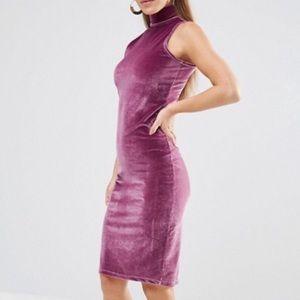 Velvet Midi Bodycon Dress with High Neck